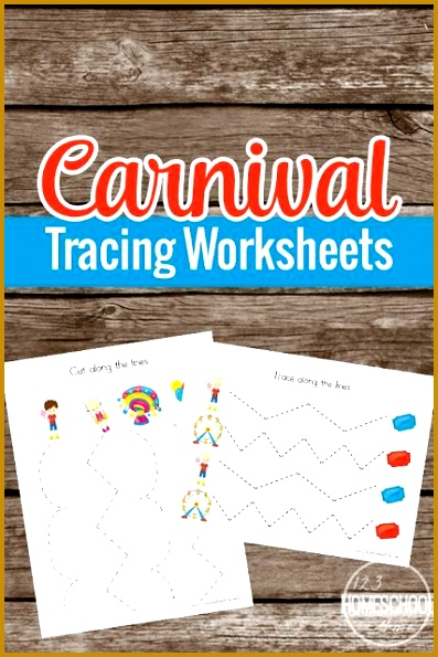 FREE Carnival Prewriting Tracing Worksheets these free printable pages are super cute and perfect to help toddler preschool and prek children practice 595397