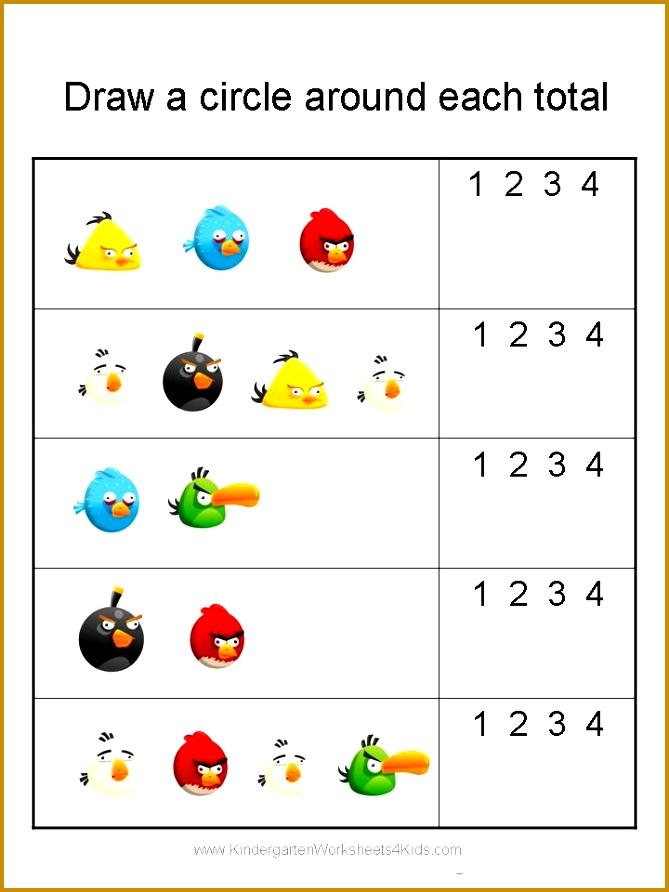 Angry Birds Math Worksheets for Kindergarten 892669