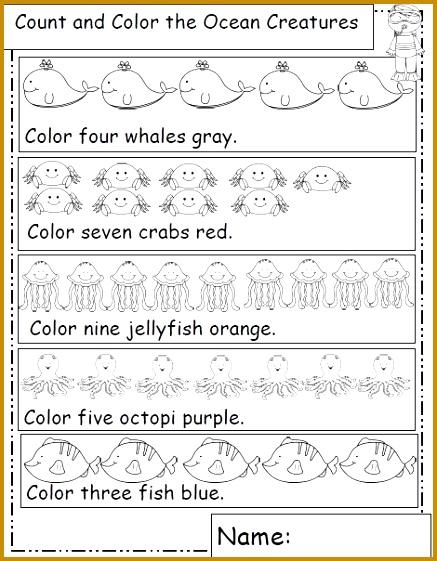 Ocean Animal Themed Math Worksheets 561437