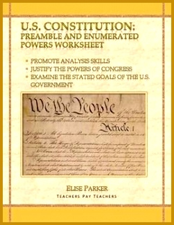 U S Constitution Analysis Preamble and Enumerated Powers Worksheet 325251