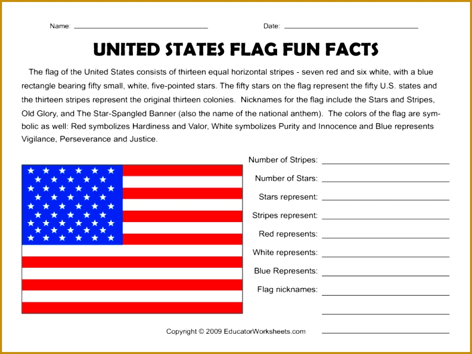 United States Flag Fun Facts Worksheet 714952