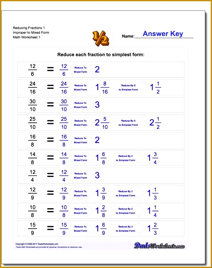 Math Worksheets for Reducing Improper Fractions 865684
