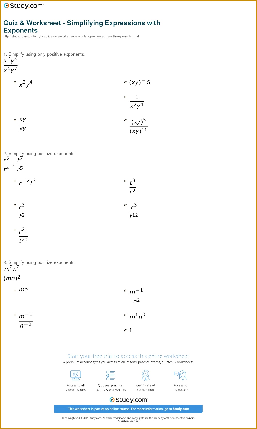 Print How to Simplify Expressions with Exponents Worksheet 10601769