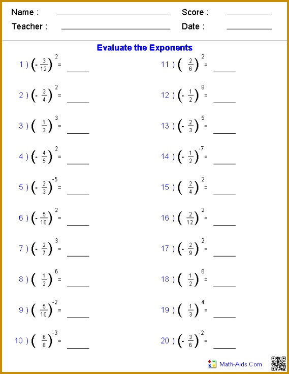 Solving Fractions with Exponents Worksheets 736569