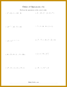 Order of Operations Worksheet Integers Order of Operations Five Steps A 283219