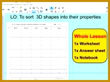 Whole Lesson 3D shapes Features properties sorting applying problems KS2 164219