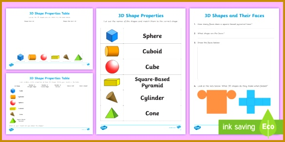 Properties of 3D Shapes Activity Sheet Pack 292585