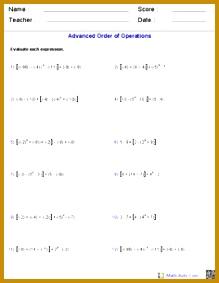 order of operations worksheet Order of Operations Worksheets 283219