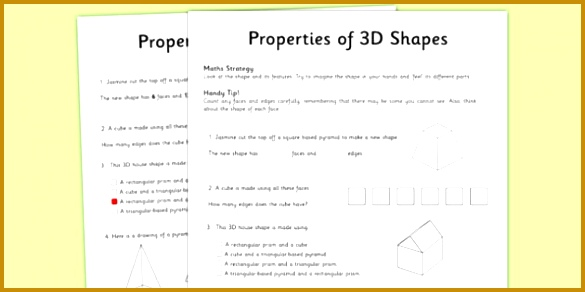 Year 3 Properties of Shapes Worksheet Activity Sheet worksheet test skills NAPLAN 292585
