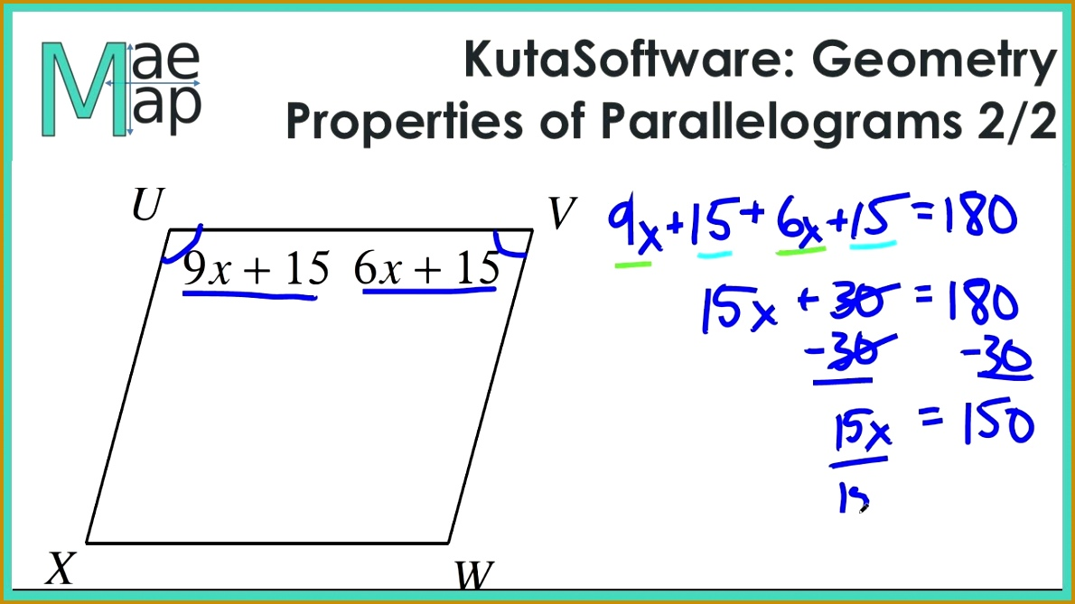 KutaSoftware Geometry Properties Parallelograms Part 2 6691190