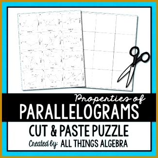 Properties of Parallelograms Cut and Paste Puzzle 325325