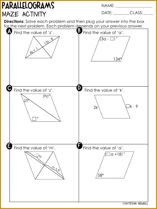 Quadrilaterals Properties of Parallelograms 669892