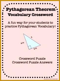8th Grade Math Pythagorean Theorem Vocabulary Crossword 325244