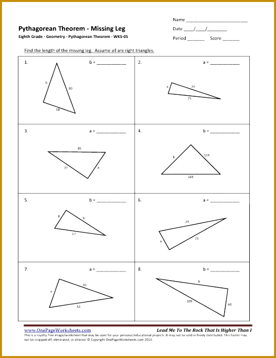 49 Pythagorean theorem worksheet necessary Pythagorean Theorem Worksheet Pythagoras Questions Grand shots Eighth Grade Geometry Wks 736569