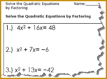 Quadratic Worksheets 266360