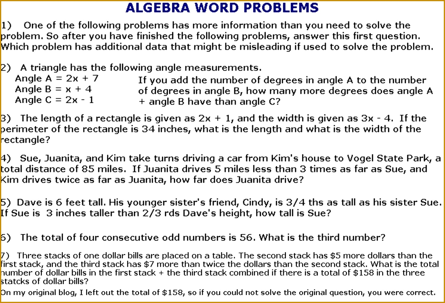Quadratic Equation Word Problems Worksheet With Answers 10141488