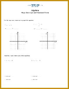 Slope Standard Form and Slope Intercept Form Worksheet 306237