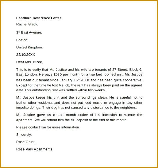 Landlord Re mendation Letter Sample Landlord Reference Letter 544576