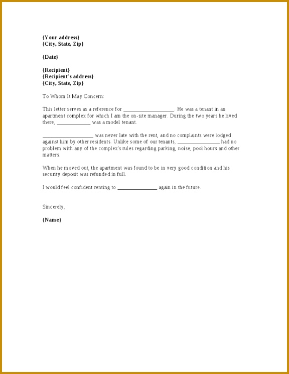 52 Rental reference letter functional Rental Reference Letter Accurate Portrait Employer For Landlord Cover Templates My 745576