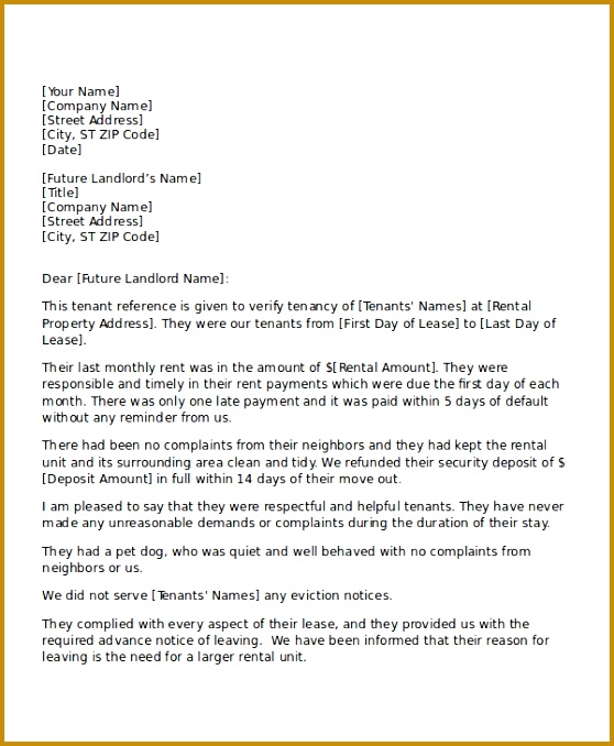 Reference Letter Rental From Neighbor 678558