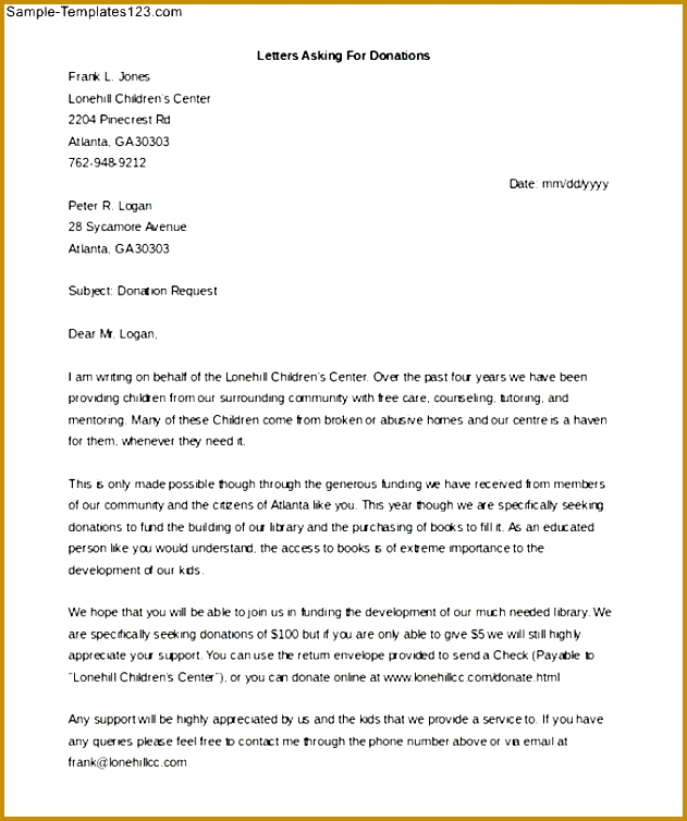 Letter Asking For Donations Word Doc Download Sample Templates Sample Solicitation Letter For Donations For Death 754631