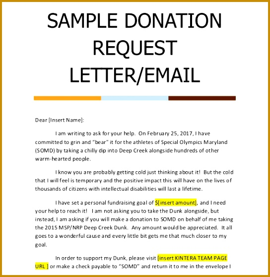Donation Request Email Letter Sample 558544