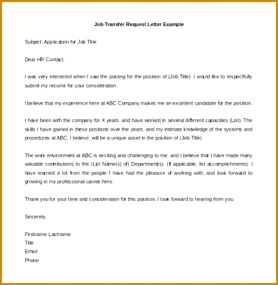 Awesome Collection of Sample Job Transfer Request Letter Format Transfer Application Letter Format 558544