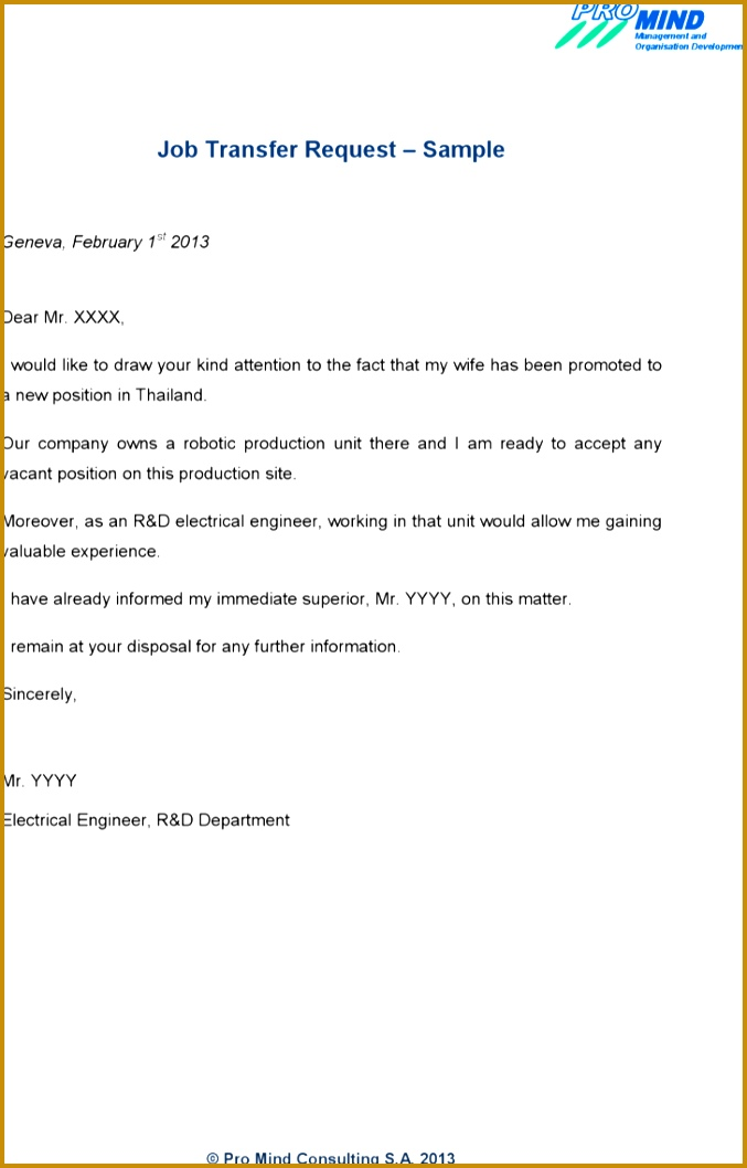 Cute Application Letter Sample for Any Job Vacancy for Your Job Transfer Request Letter Template Sample Pdf for 1058677