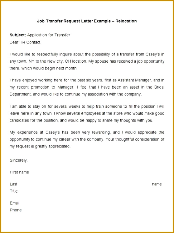 39 Transfer Letter Templates Free Sample Example Format Request Letter For Job Opportunity 744558