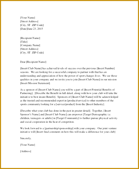 Request for Sponsorship Letter Template 678558