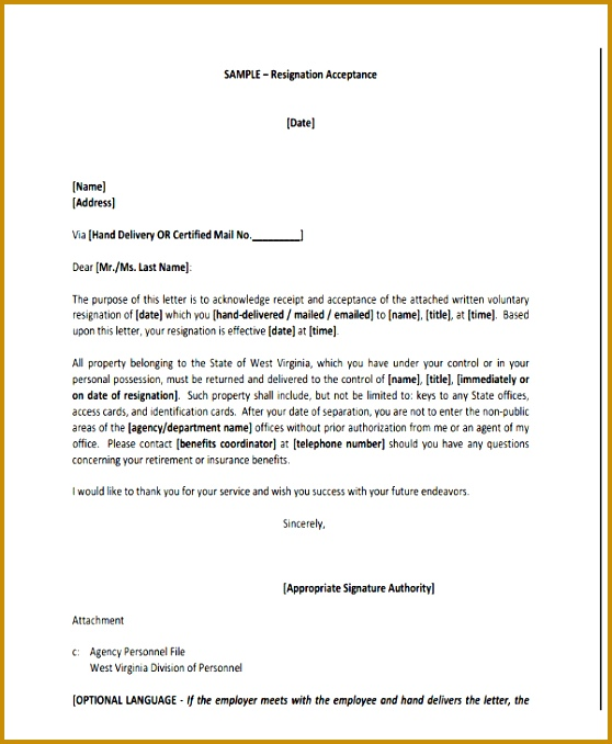 Board Resignation Acceptance Letter Template 678558