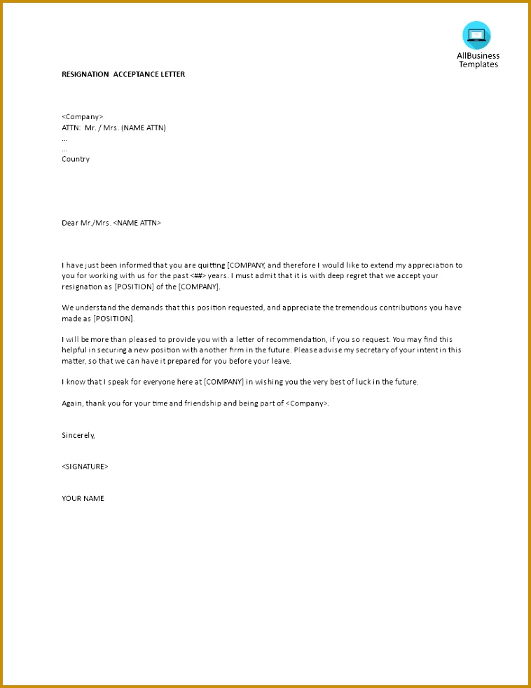 Resignation Acceptance letter template main image 982758
