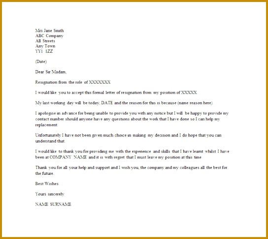 Email Resignation Letter Template Without Notice Period 484544