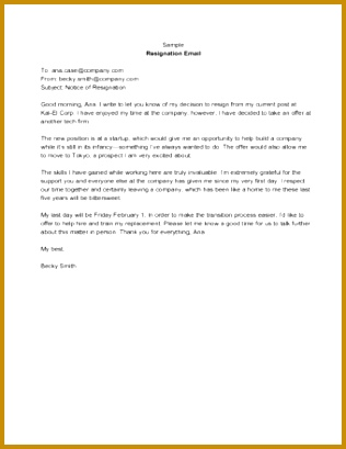 Sample Resignation Email 409316