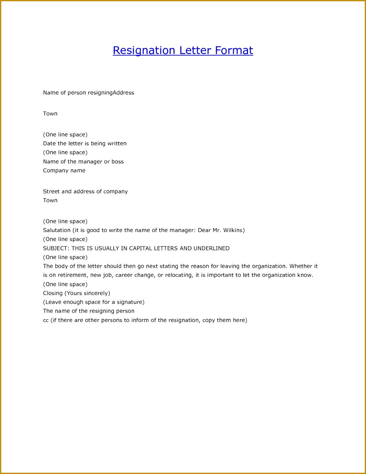resignation letter format example 15341185