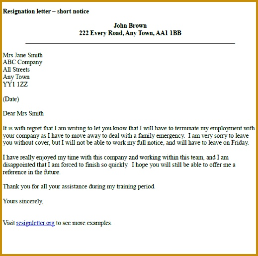 resignation email sample with notice periodsignation letter short notice 519515