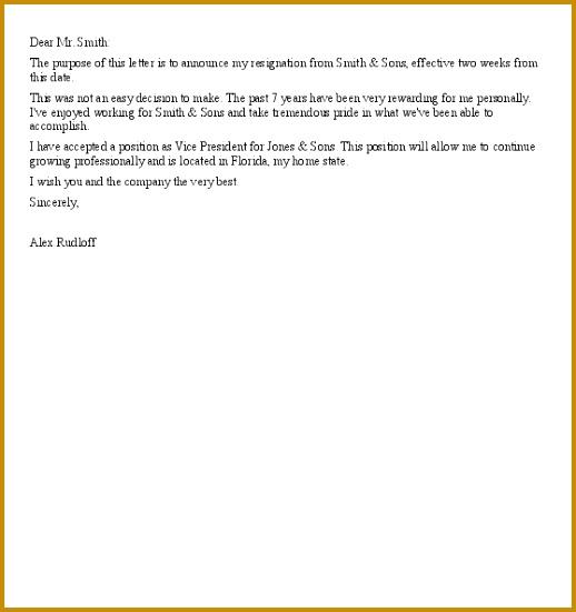 Heartfelt Resignation Letter Sample 551518