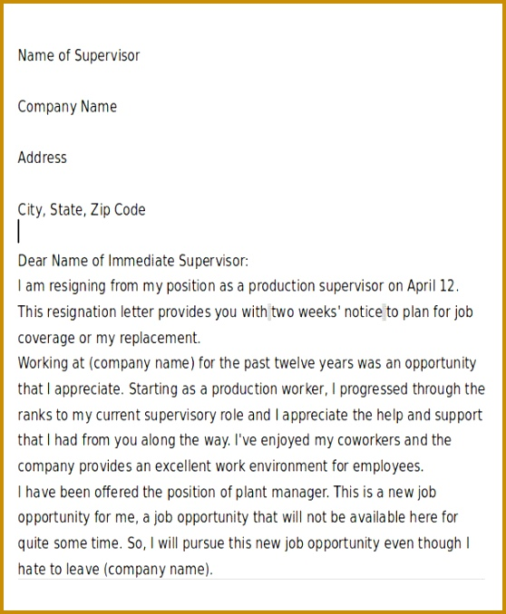 Immediate Resignation Letter Due To New Job Opportunity That Not Avaiable In Quite Some Time Immediate 678558