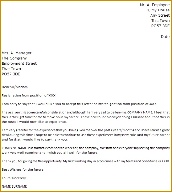 Resignation letter example with regret 548611
