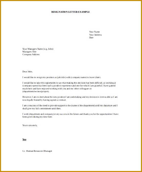 Current Job Resignation Letter Template 558678