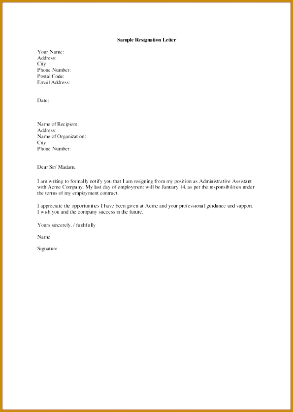 39 Resignation letter for personal reasons standart Resignation Letter For Personal Reasons Achievable Captures Sample Due 837595