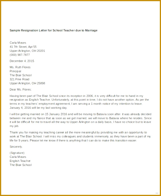 6 resignation letter due to relocation sample