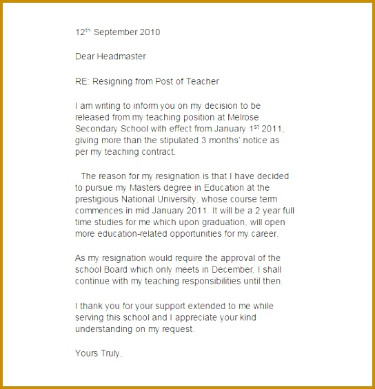 Teacher Resignation Letter form Mid Year Template 565544
