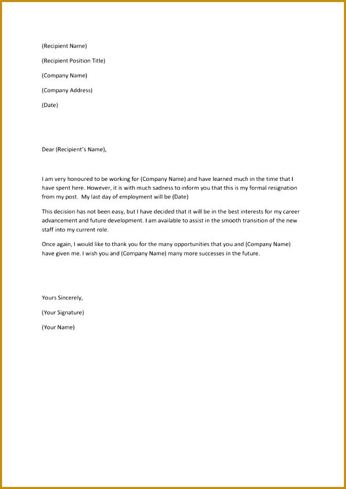resign letter 968684