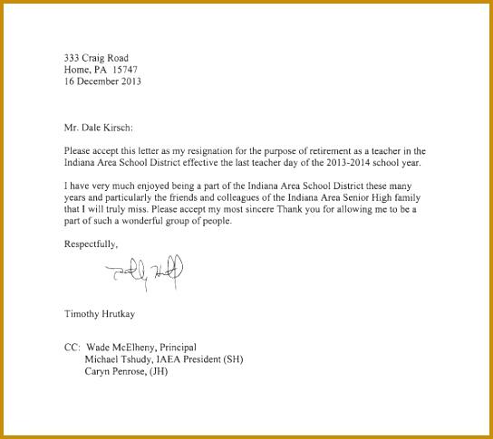 teacher resignation letter template 14 free sample 485544