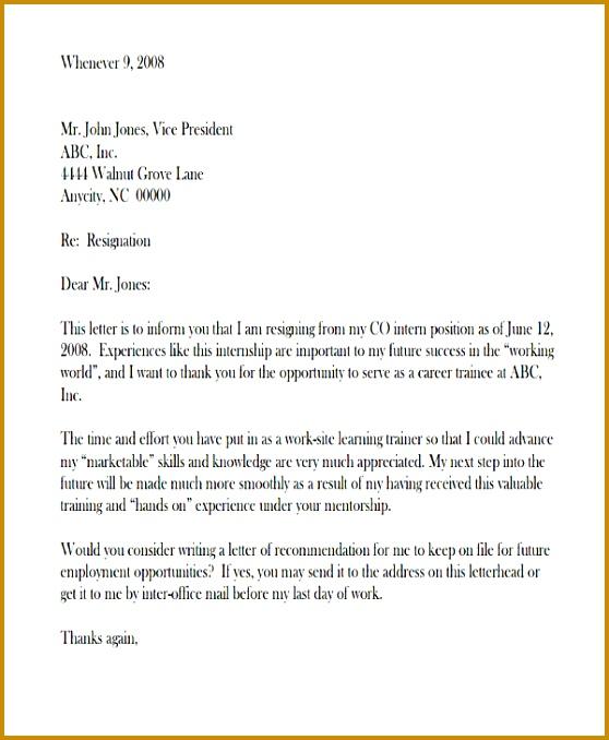 Internship Resignation Letter Format 678558