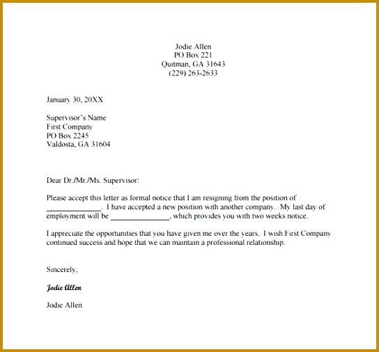 2 Weeks Resignation Letter Example PDF Free Download 506544