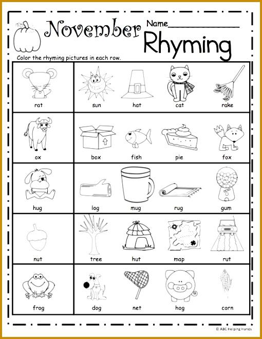 Free November Rhyming Worksheets repinned by PediaStaff – Please Visit ht 659510