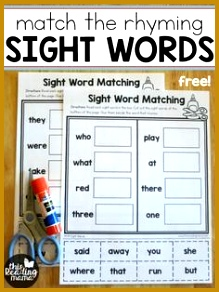 Sight Word Worksheets Free Match the Rhyming Sight Words This Reading Mama 292219