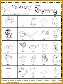Kindergarten Rhyming Worksheets for February 219291